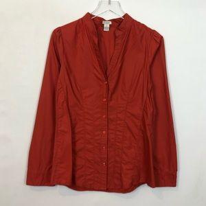 Odille Brick Red Cotton Sateen Shirt 10